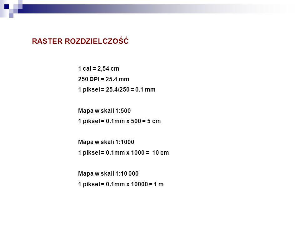 RASTER ROZDZIELCZOŚĆ 1 cal = 2,54 cm 250 DPI = 25.4 mm