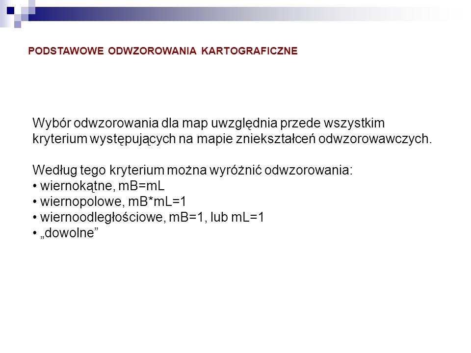 Według tego kryterium można wyróżnić odwzorowania: wiernokątne, mB=mL