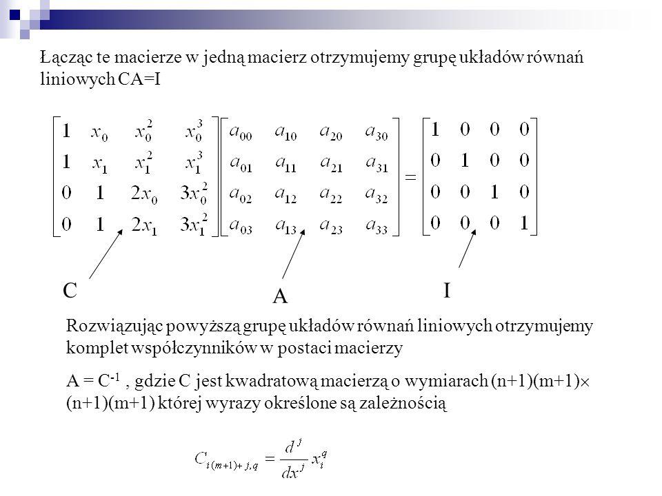 Łącząc te macierze w jedną macierz otrzymujemy grupę układów równań liniowych CA=I