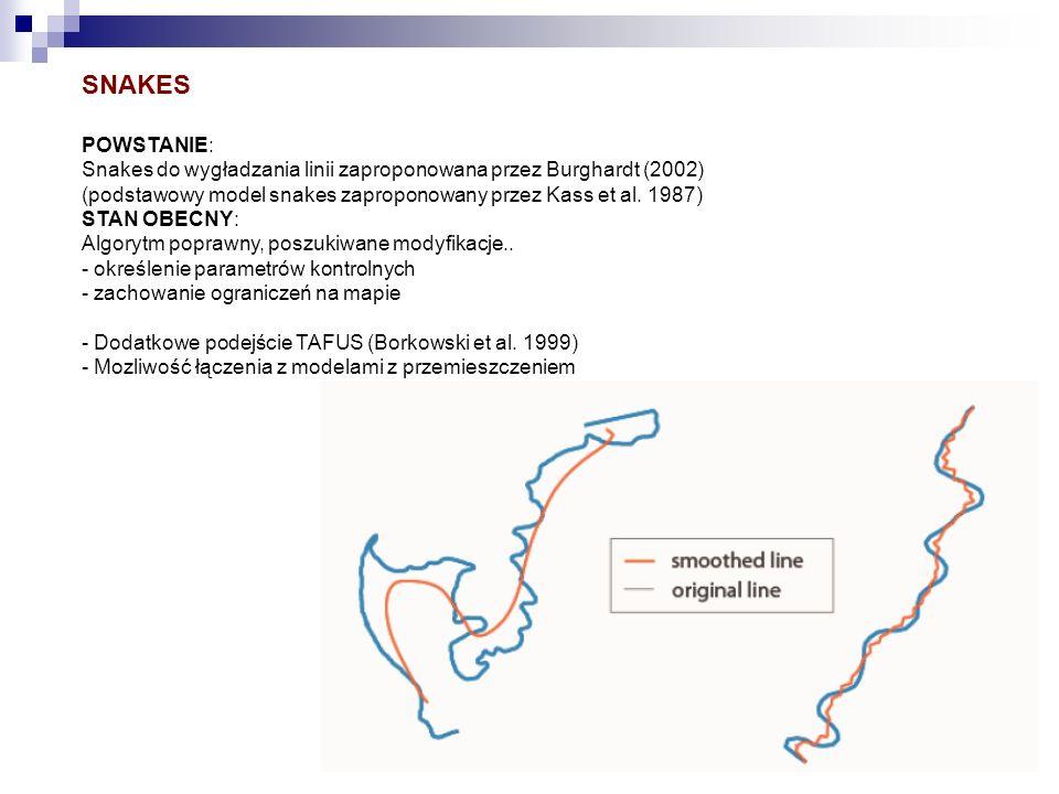 SNAKES POWSTANIE: Snakes do wygładzania linii zaproponowana przez Burghardt (2002) (podstawowy model snakes zaproponowany przez Kass et al. 1987)