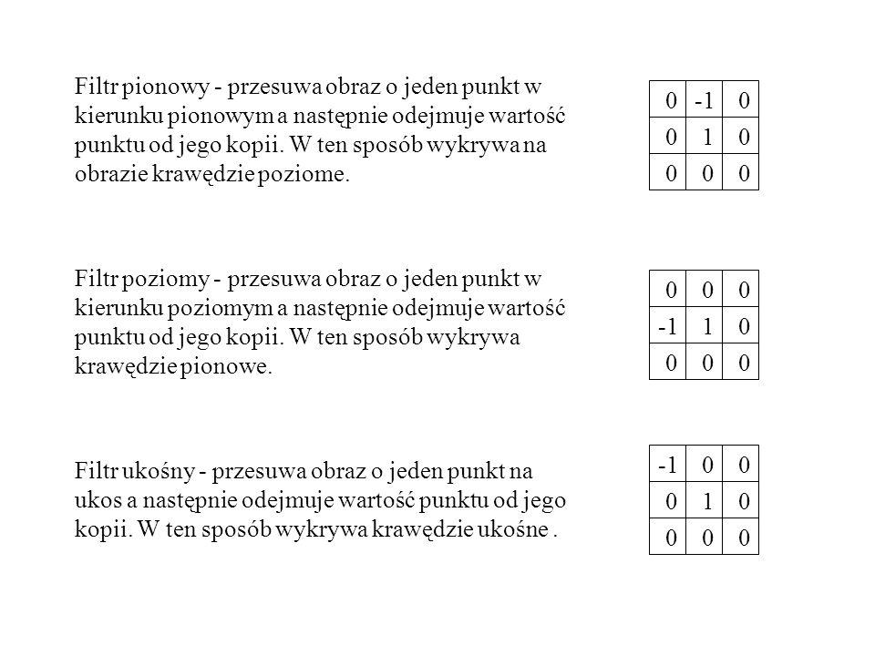 Filtr pionowy - przesuwa obraz o jeden punkt w kierunku pionowym a następnie odejmuje wartość punktu od jego kopii. W ten sposób wykrywa na obrazie krawędzie poziome.