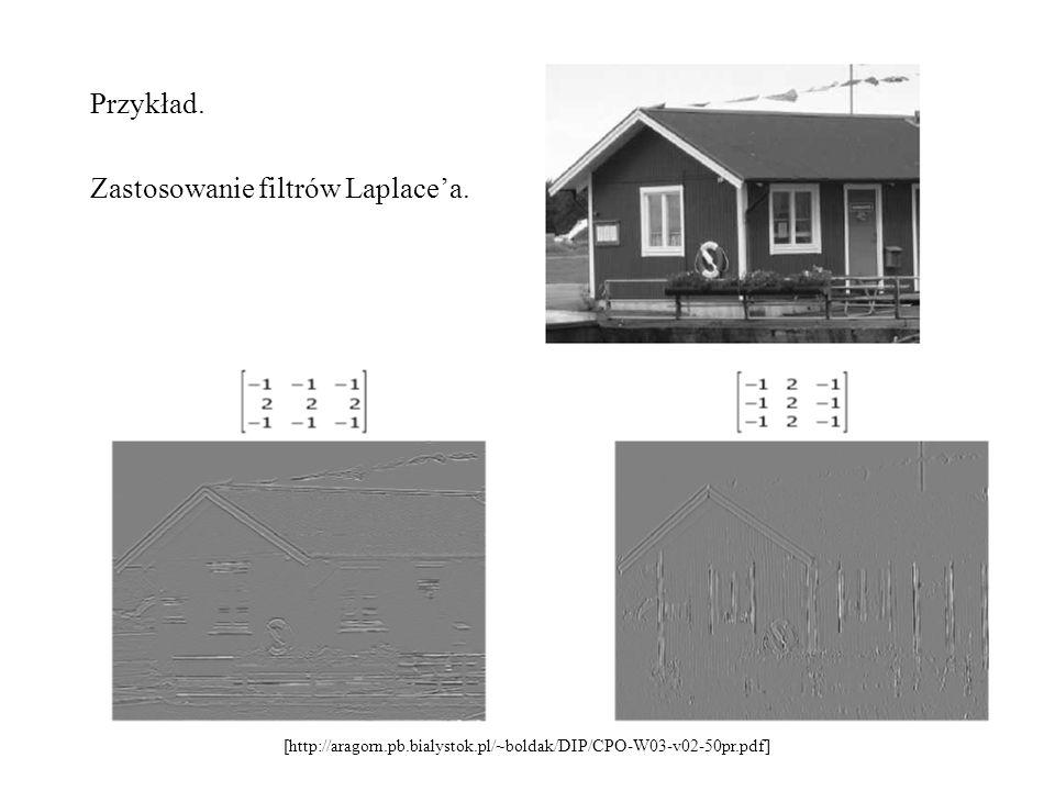 Zastosowanie filtrów Laplace'a.