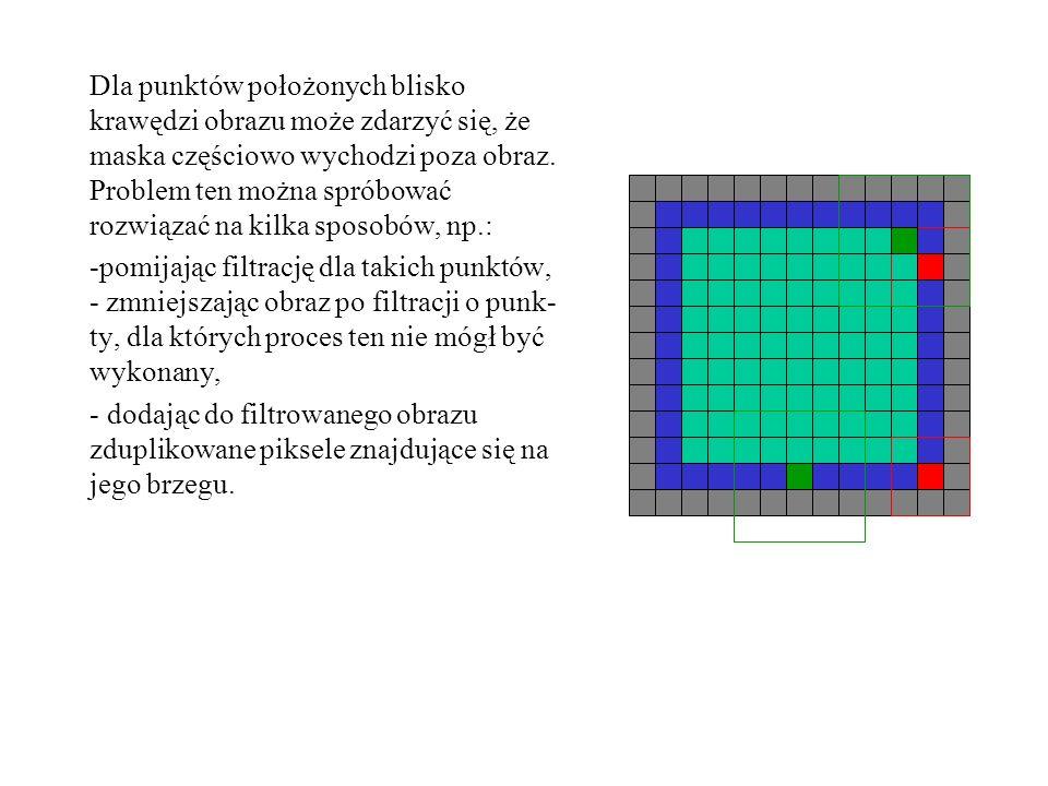Dla punktów położonych blisko krawędzi obrazu może zdarzyć się, że maska częściowo wychodzi poza obraz. Problem ten można spróbować rozwiązać na kilka sposobów, np.: