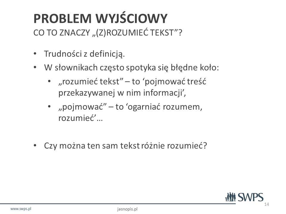 """PROBLEM WYJŚCIOWY CO TO ZNACZY """"(Z)ROZUMIEĆ TEKST"""
