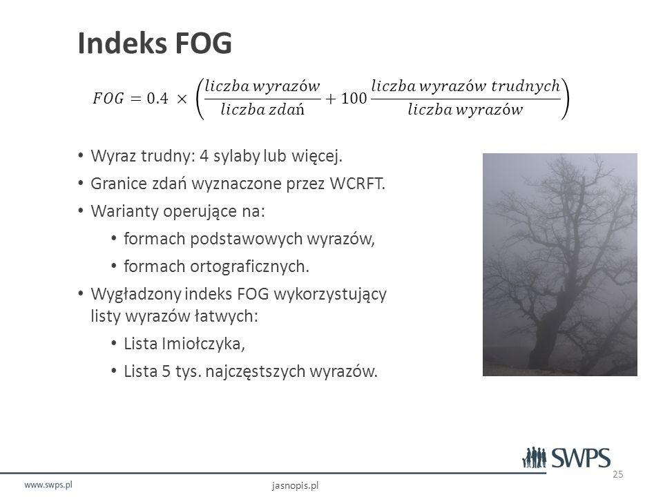 Indeks FOG Wyraz trudny: 4 sylaby lub więcej.