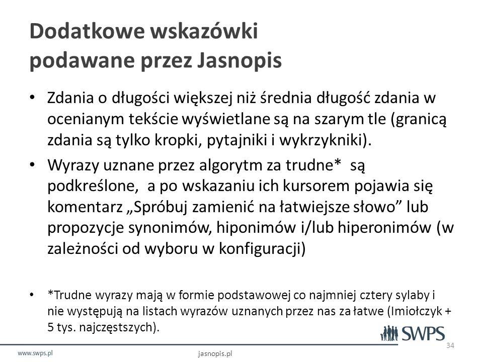 Dodatkowe wskazówki podawane przez Jasnopis