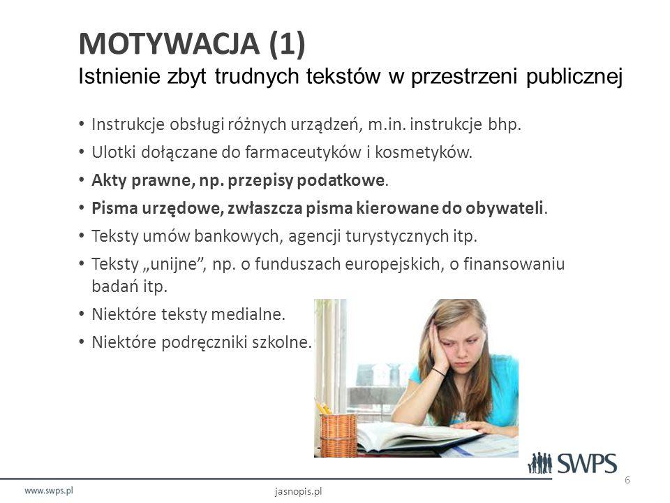 MOTYWACJA (1) Istnienie zbyt trudnych tekstów w przestrzeni publicznej