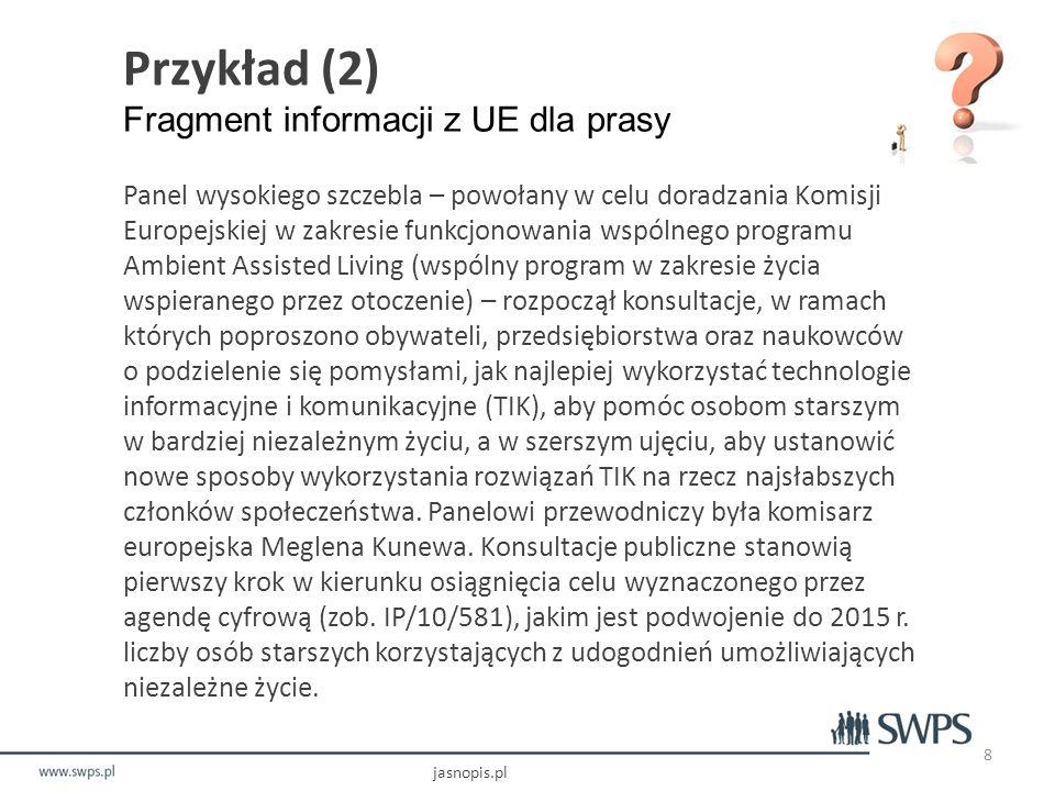 Przykład (2) Fragment informacji z UE dla prasy