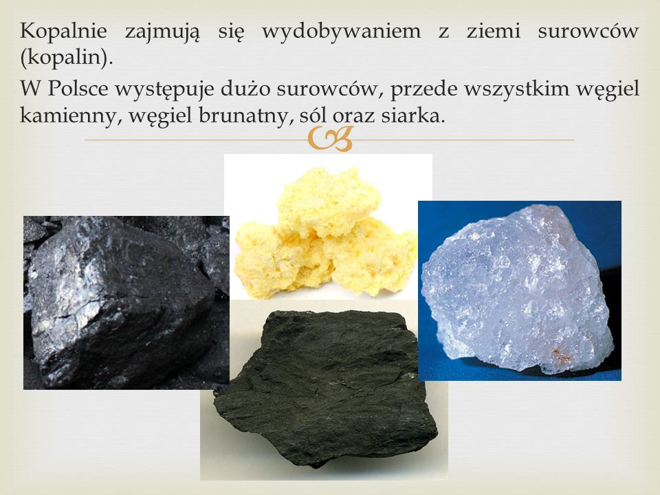 Kopalnie zajmują się wydobywaniem z ziemi surowców (kopalin)