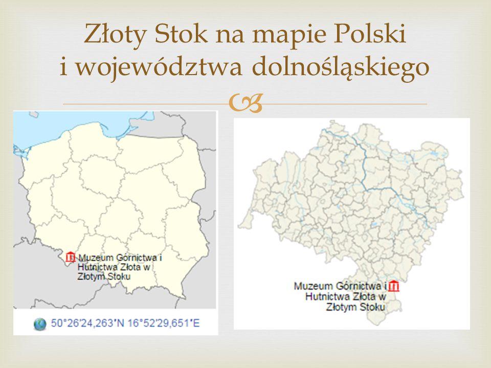 Złoty Stok na mapie Polski i województwa dolnośląskiego