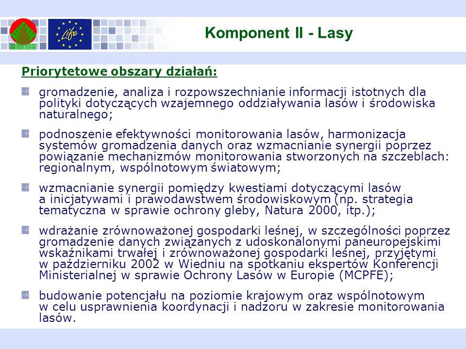 Komponent II - Lasy Priorytetowe obszary działań: