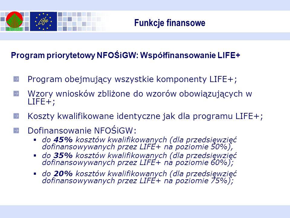 Funkcje finansowe Program priorytetowy NFOŚiGW: Współfinansowanie LIFE+ Program obejmujący wszystkie komponenty LIFE+;