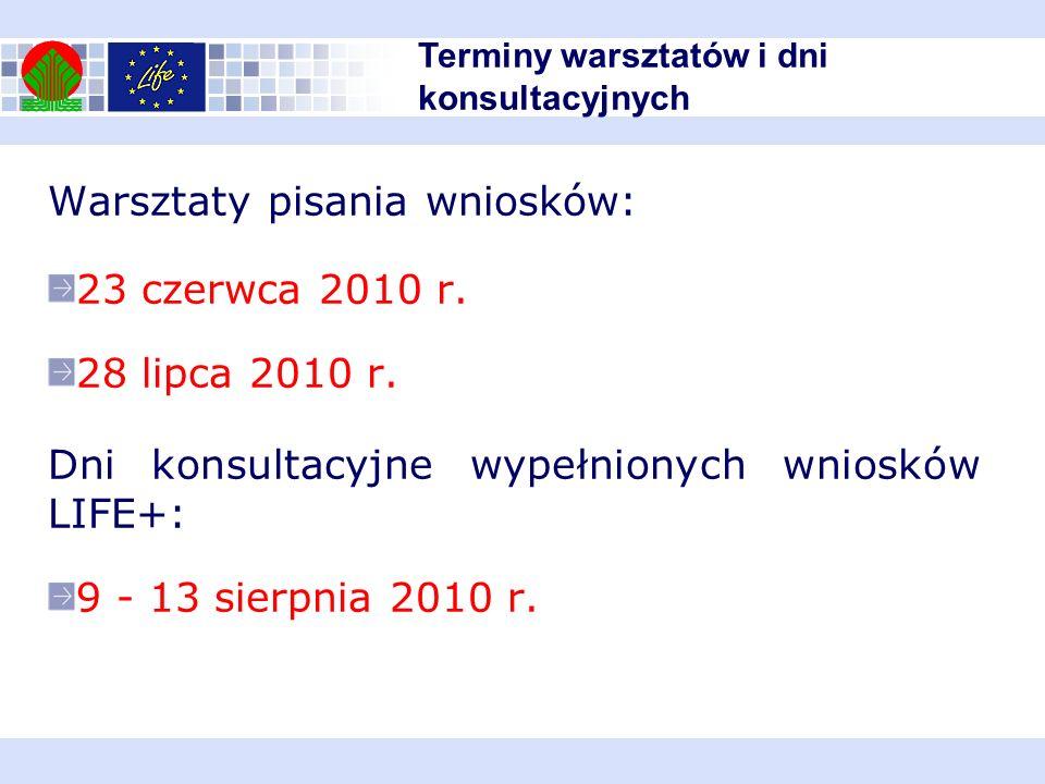 Warsztaty pisania wniosków: 23 czerwca 2010 r. 28 lipca 2010 r.