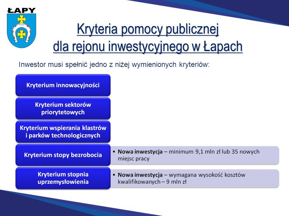 Kryteria pomocy publicznej dla rejonu inwestycyjnego w Łapach