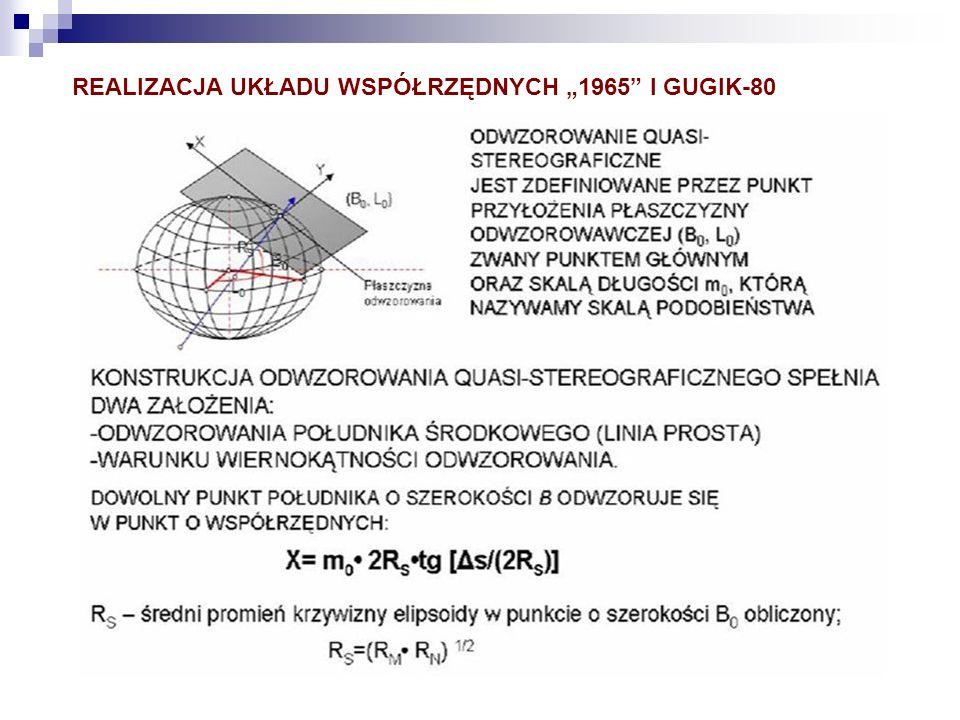 """REALIZACJA UKŁADU WSPÓŁRZĘDNYCH """"1965 I GUGIK-80"""