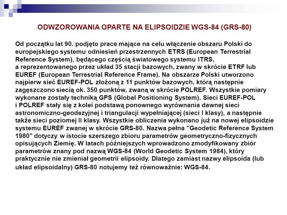ODWZOROWANIA OPARTE NA ELIPSOIDZIE WGS-84 (GRS-80)