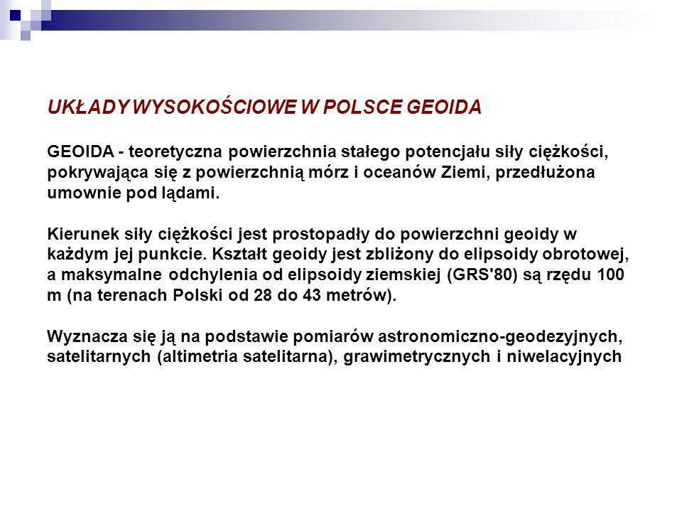 UKŁADY WYSOKOŚCIOWE W POLSCE GEOIDA