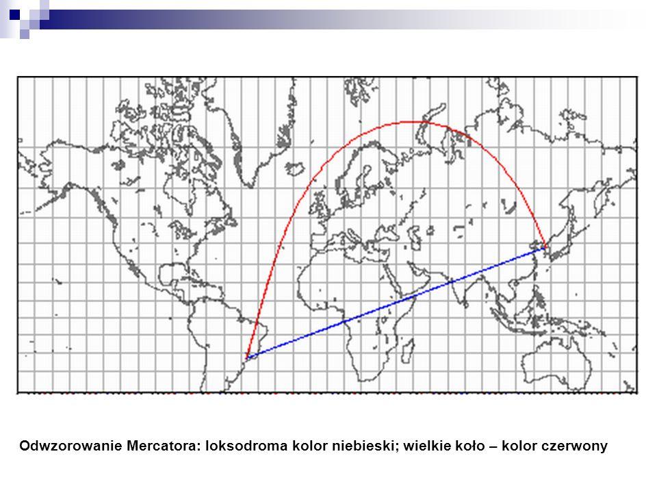 Odwzorowanie Mercatora: loksodroma kolor niebieski; wielkie koło – kolor czerwony