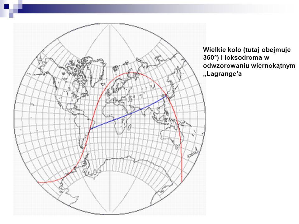 """Wielkie koło (tutaj obejmuje 360°) i loksodroma w odwzorowaniu wiernokątnym """"Lagrange'a"""