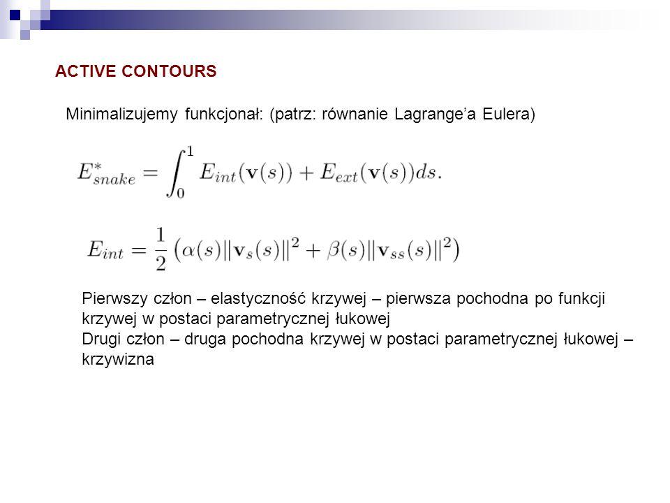 ACTIVE CONTOURS Minimalizujemy funkcjonał: (patrz: równanie Lagrange'a Eulera) Pierwszy człon – elastyczność krzywej – pierwsza pochodna po funkcji.
