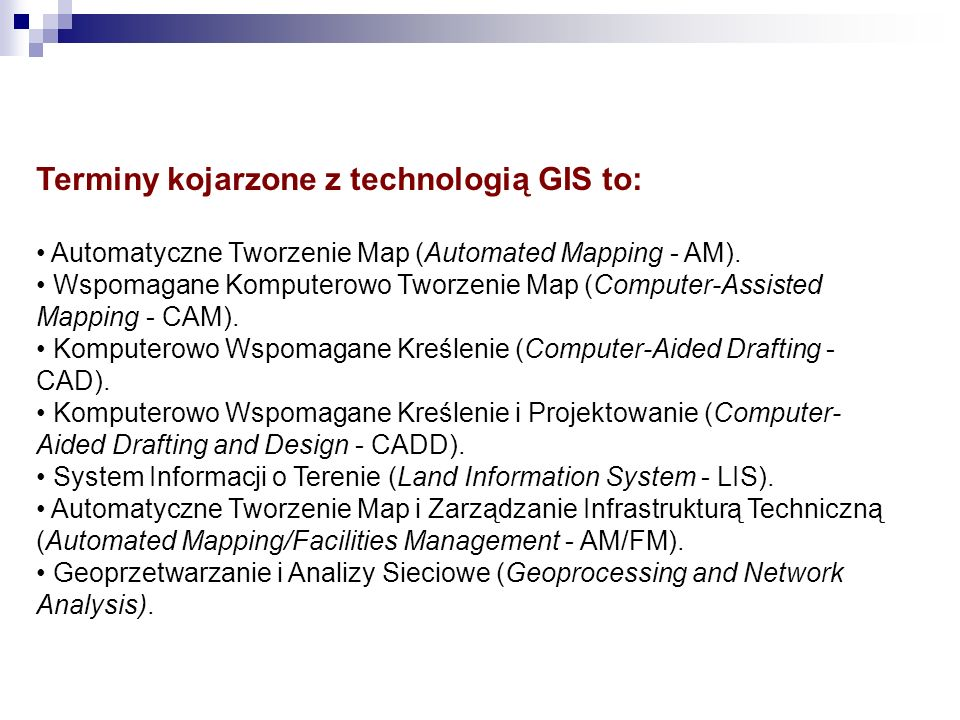 Terminy kojarzone z technologią GIS to: