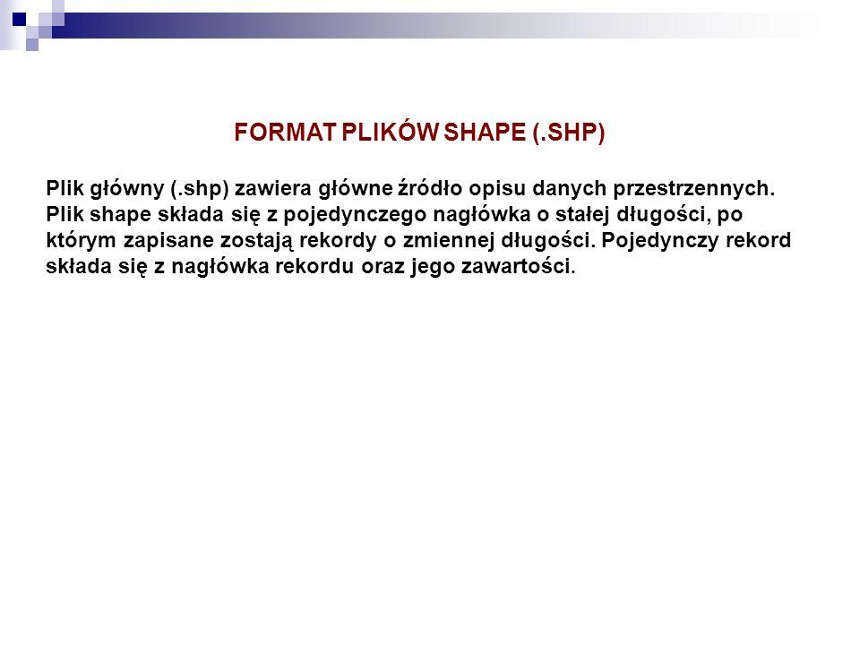 FORMAT PLIKÓW SHAPE (.SHP)