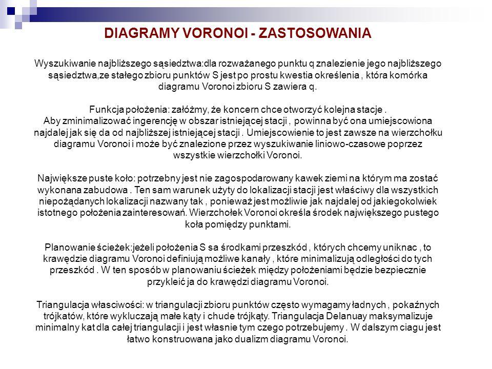 DIAGRAMY VORONOI - ZASTOSOWANIA