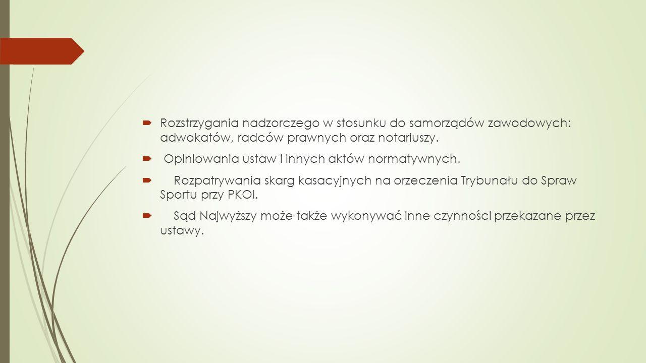 Rozstrzygania nadzorczego w stosunku do samorządów zawodowych: adwokatów, radców prawnych oraz notariuszy.