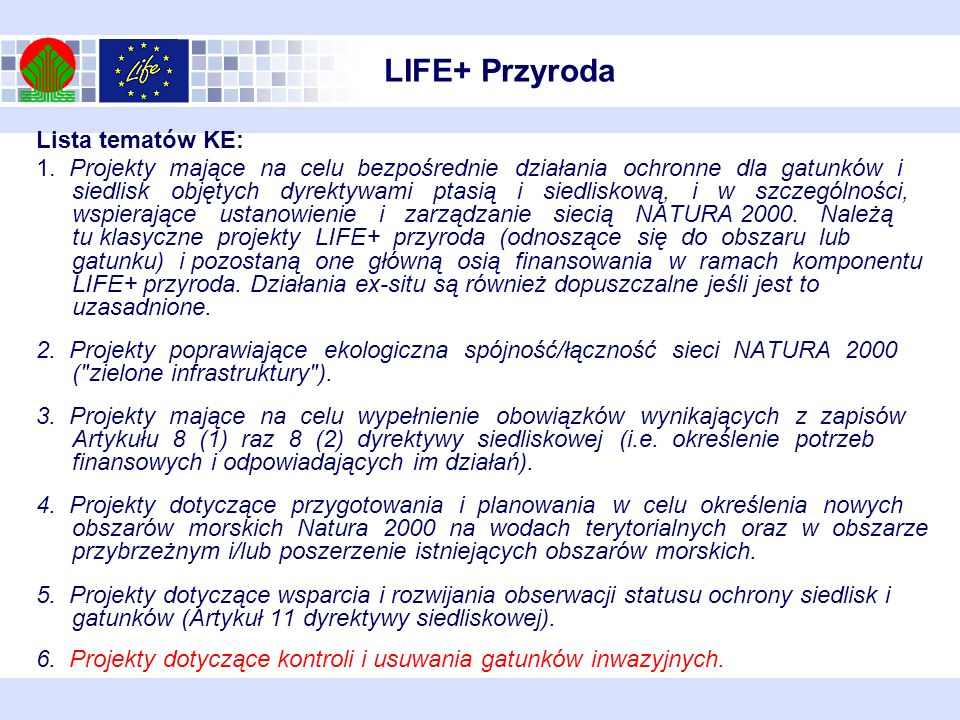 LIFE+ Przyroda Lista tematów KE: