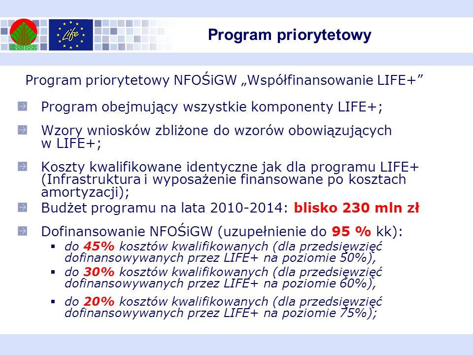 """Program priorytetowy Program priorytetowy NFOŚiGW """"Współfinansowanie LIFE+ Program obejmujący wszystkie komponenty LIFE+;"""