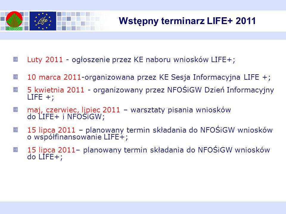 Wstępny terminarz LIFE+ 2011