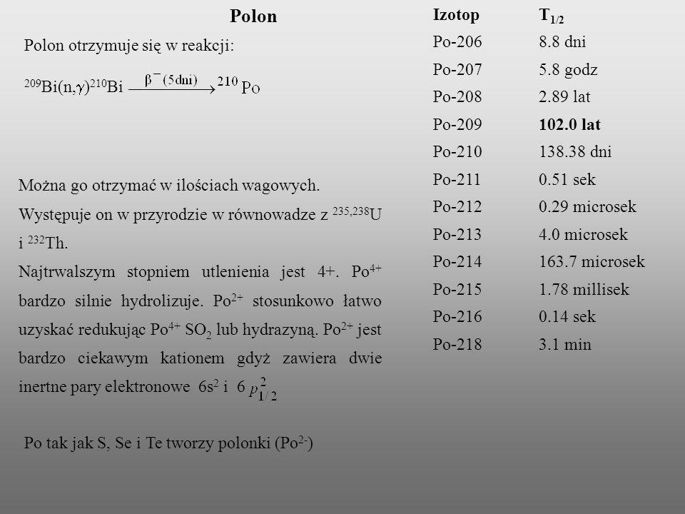 Polon Izotop T1/2 Po-206 8.8 dni Po-207 5.8 godz Po-208 2.89 lat