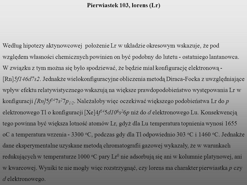 Pierwiastek 103, lorens (Lr)