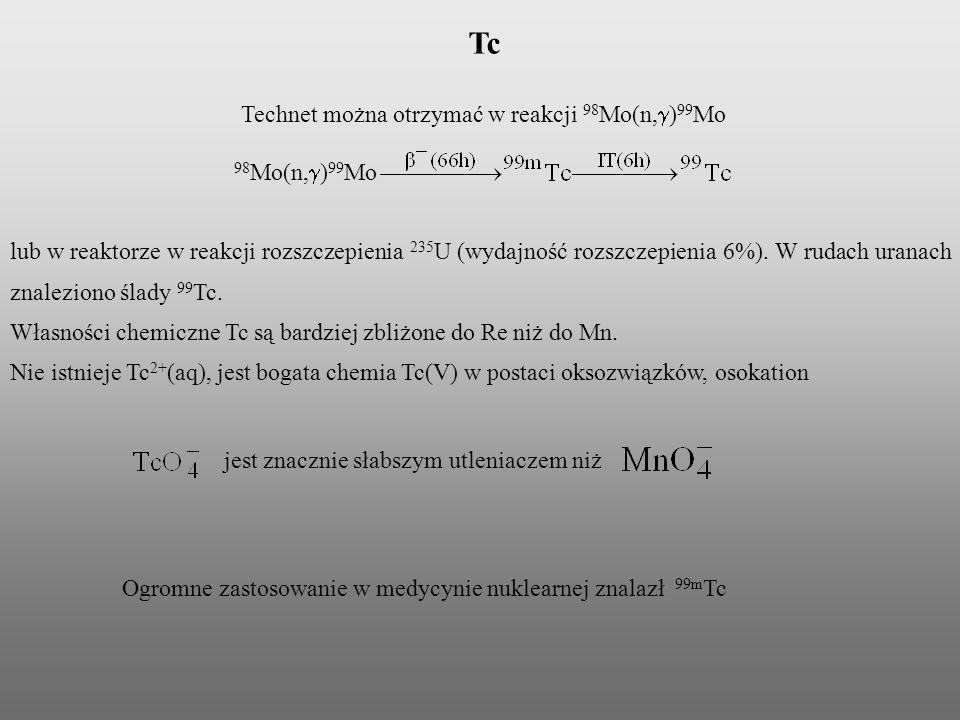 Technet można otrzymać w reakcji 98Mo(n,g)99Mo