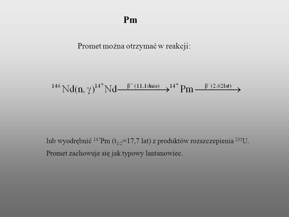 Pm Promet można otrzymać w reakcji: