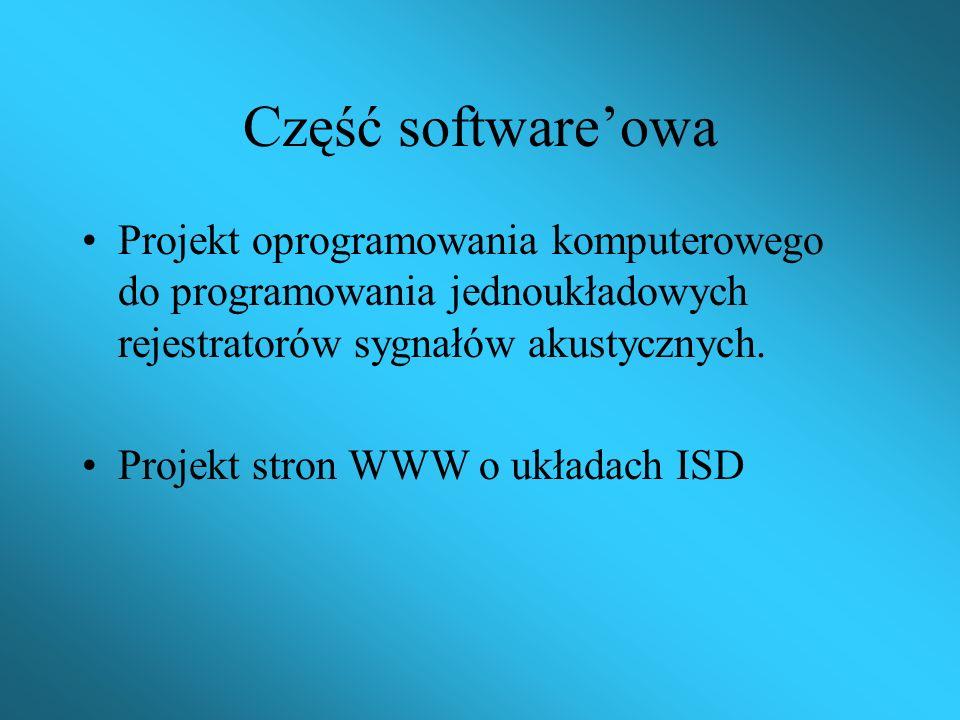 Część software'owa Projekt oprogramowania komputerowego do programowania jednoukładowych rejestratorów sygnałów akustycznych.