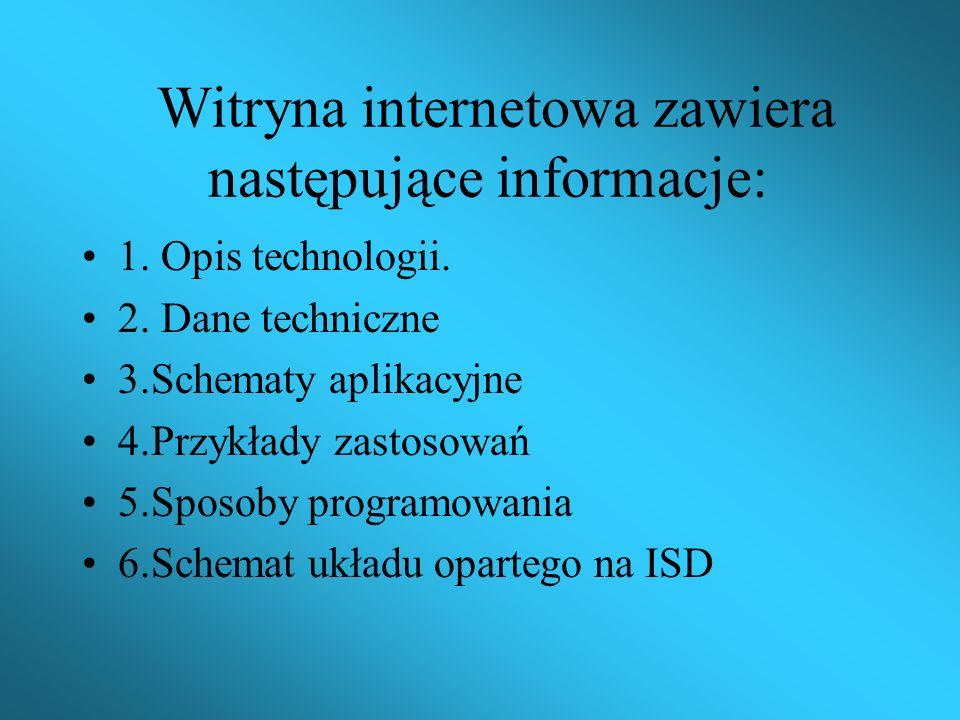 Witryna internetowa zawiera następujące informacje:
