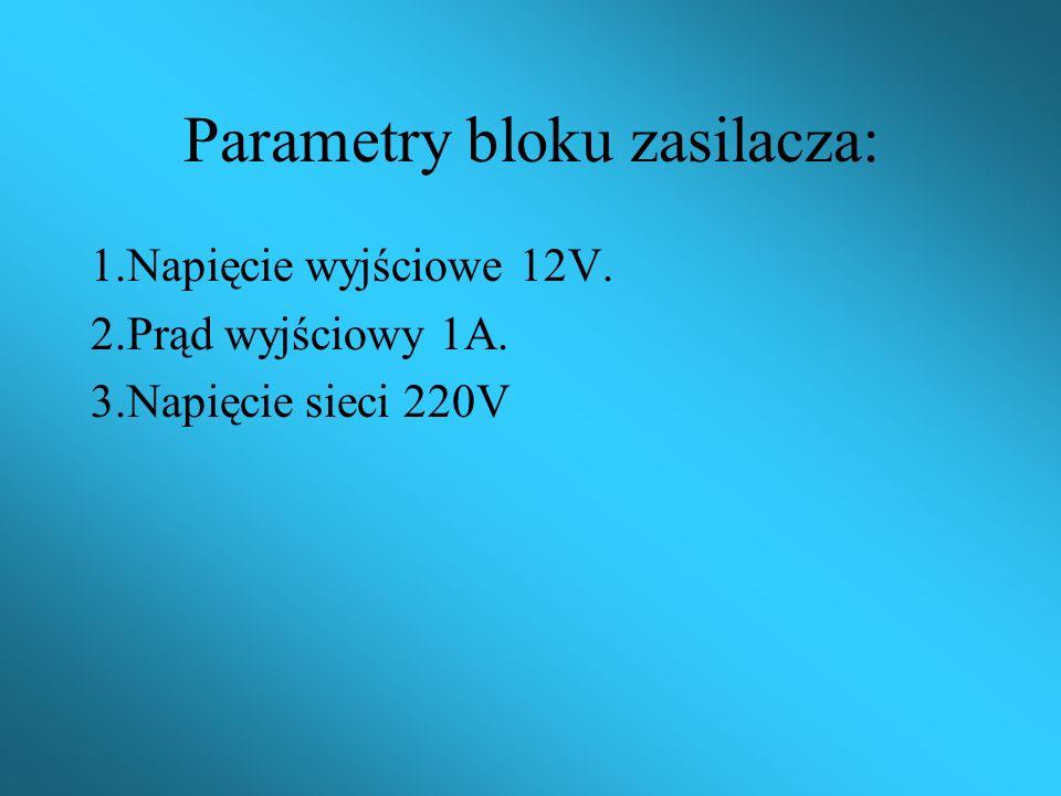 Parametry bloku zasilacza: