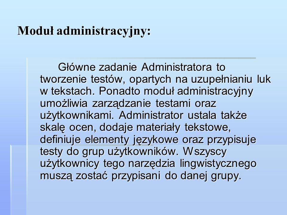 Moduł administracyjny: