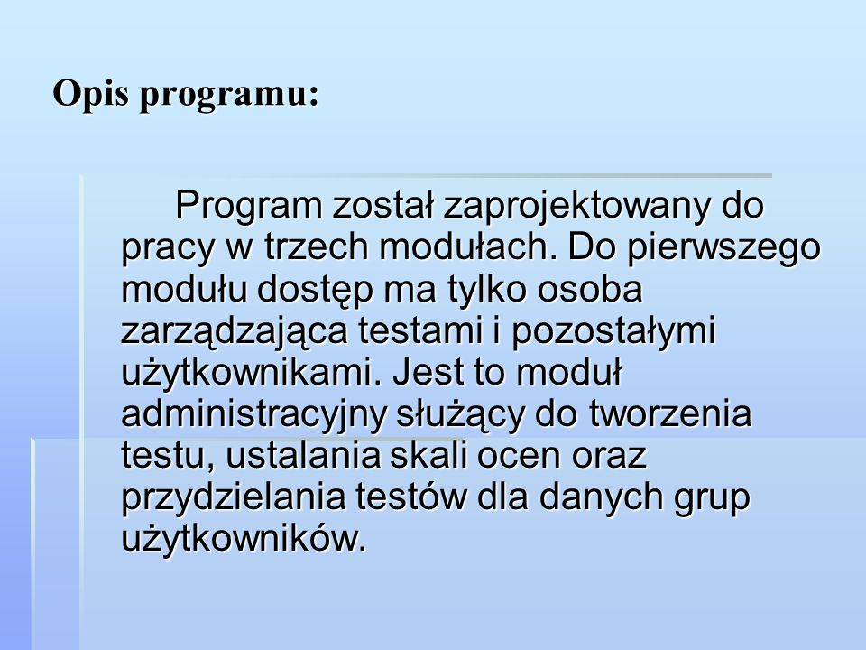 Opis programu: