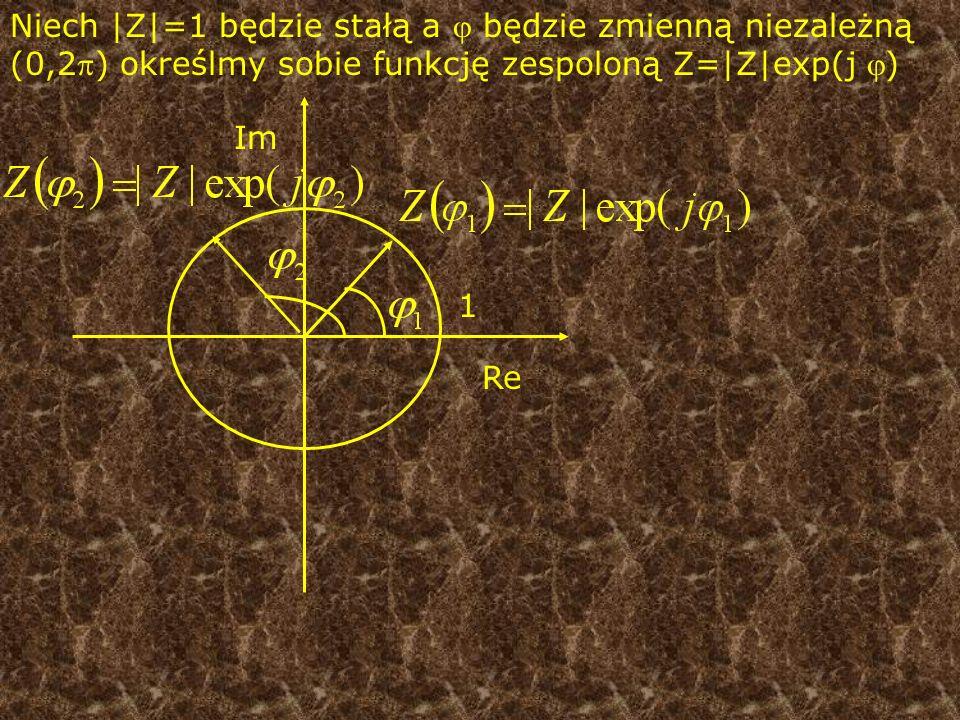 Niech |Z|=1 będzie stałą a  będzie zmienną niezależną (0,2) określmy sobie funkcję zespoloną Z=|Z|exp(j )