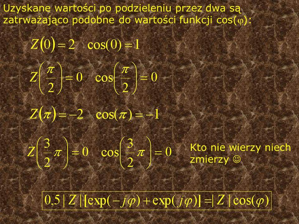 Uzyskane wartości po podzieleniu przez dwa są zatrważająco podobne do wartości funkcji cos():