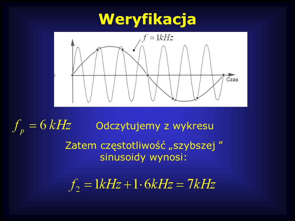 """Zatem częstotliwość """"szybszej sinusoidy wynosi:"""