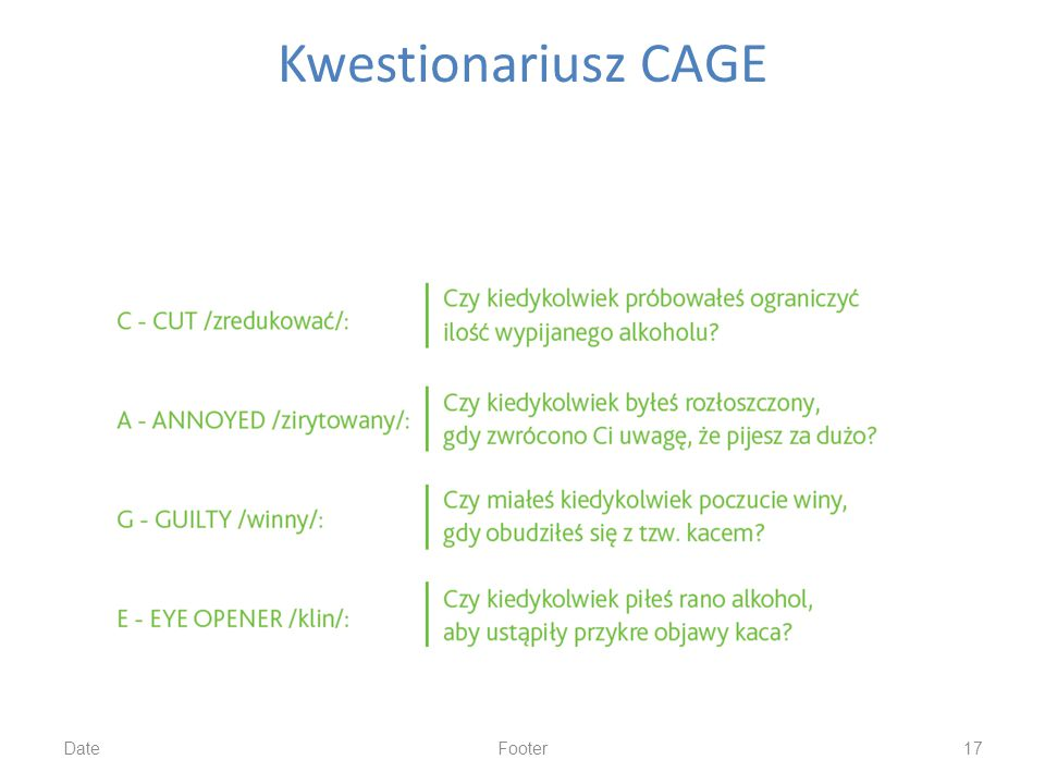 Kwestionariusz CAGE Date Footer