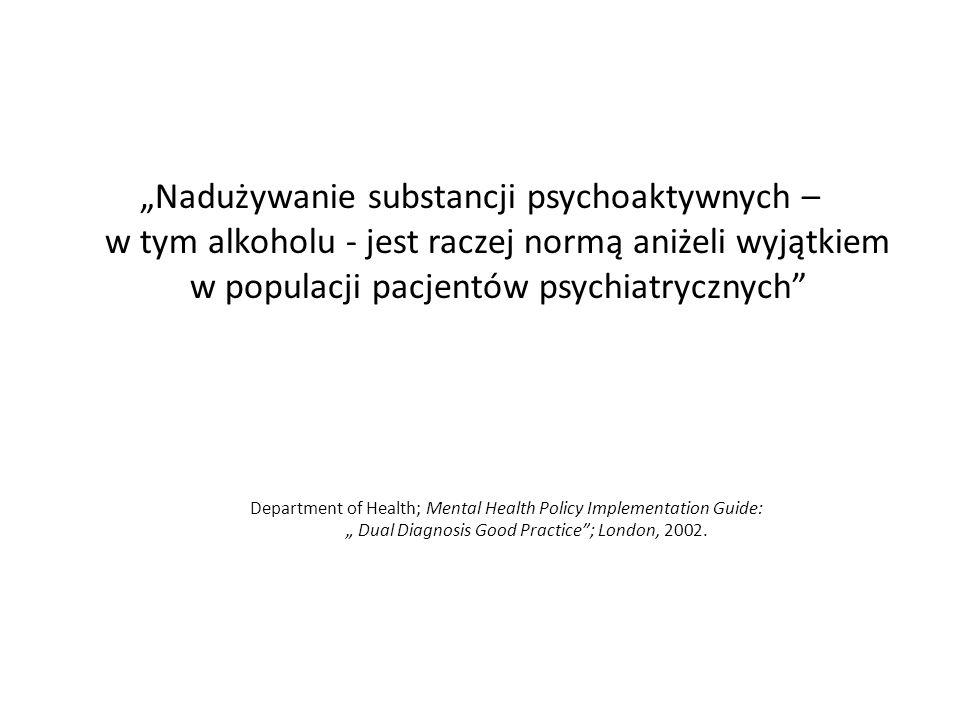 """""""Nadużywanie substancji psychoaktywnych – w tym alkoholu - jest raczej normą aniżeli wyjątkiem w populacji pacjentów psychiatrycznych"""