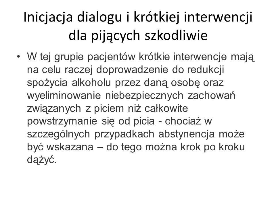 Inicjacja dialogu i krótkiej interwencji dla pijących szkodliwie