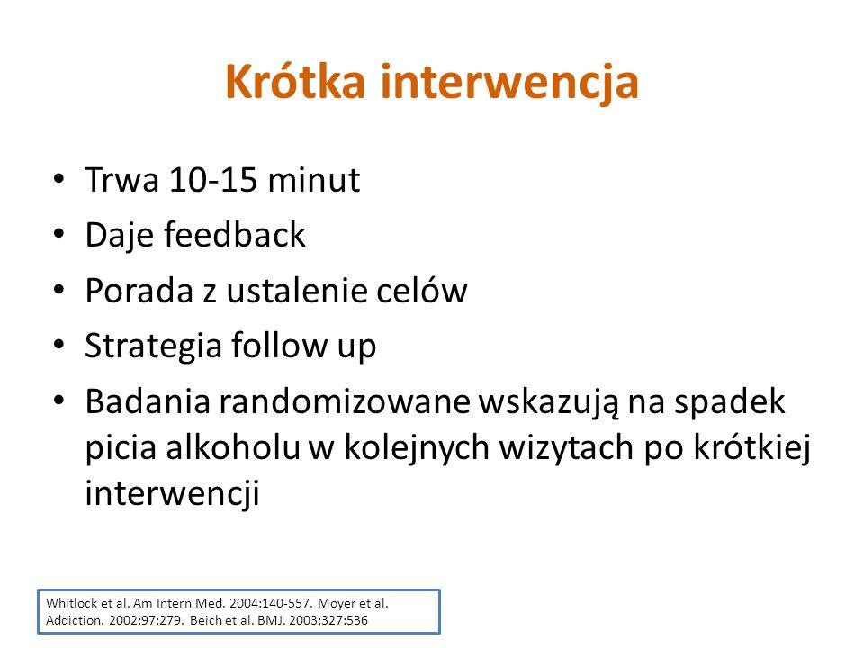 Krótka interwencja Trwa 10-15 minut Daje feedback