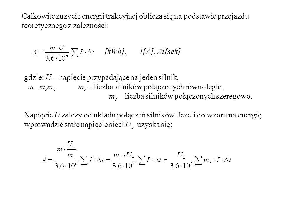 Całkowite zużycie energii trakcyjnej oblicza się na podstawie przejazdu teoretycznego z zależności: