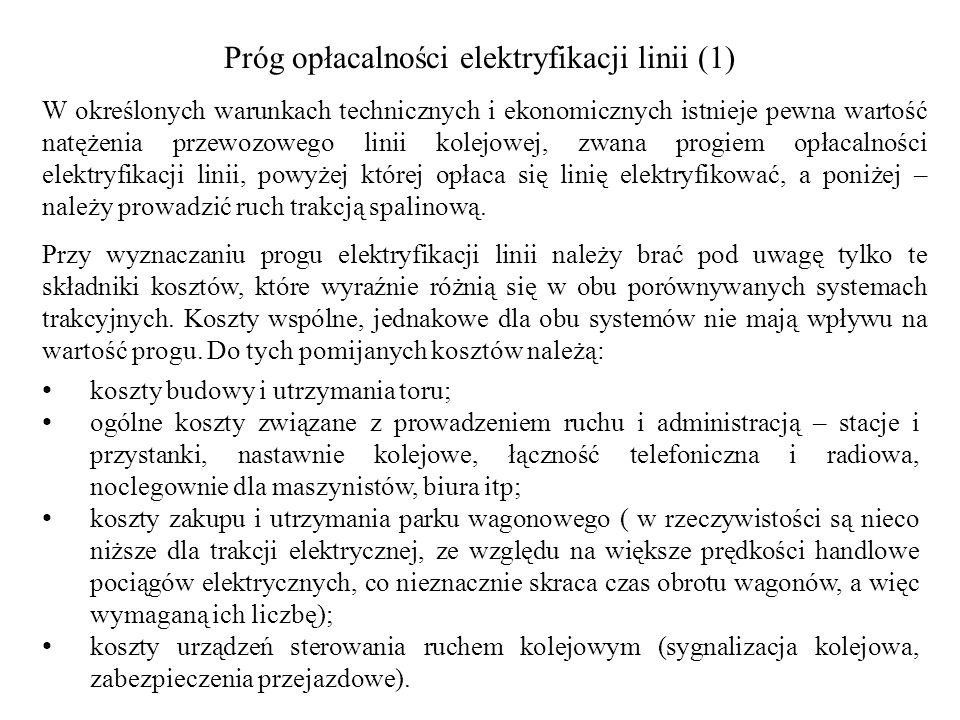 Próg opłacalności elektryfikacji linii (1)