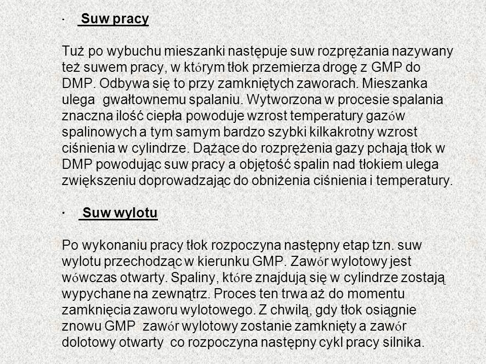 · Suw pracy Tuż po wybuchu mieszanki następuje suw rozprężania nazywany też suwem pracy, w którym tłok przemierza drogę z GMP do DMP.